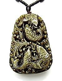 石街 超迫力 極上 ゴールドオブシディアン 鯉 彫り ネックレス デカ 厳選 天然石