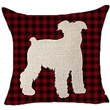 FELENIW Classic Retro Christmas Red and Black Buffalo Checkers Plaids Lattice Animal Dog Schnauzer Shadow Cotton Linen Decorative Throw Pillow Cover Cushion Case 18x18 inches