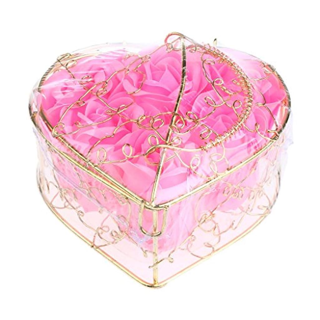 コンピューターラベル洋服Kesoto 6個 石鹸の花 バラ 石鹸の花びら 母の日 ギフトボックス ロマンチック 全5タイプ選べる - ピンク