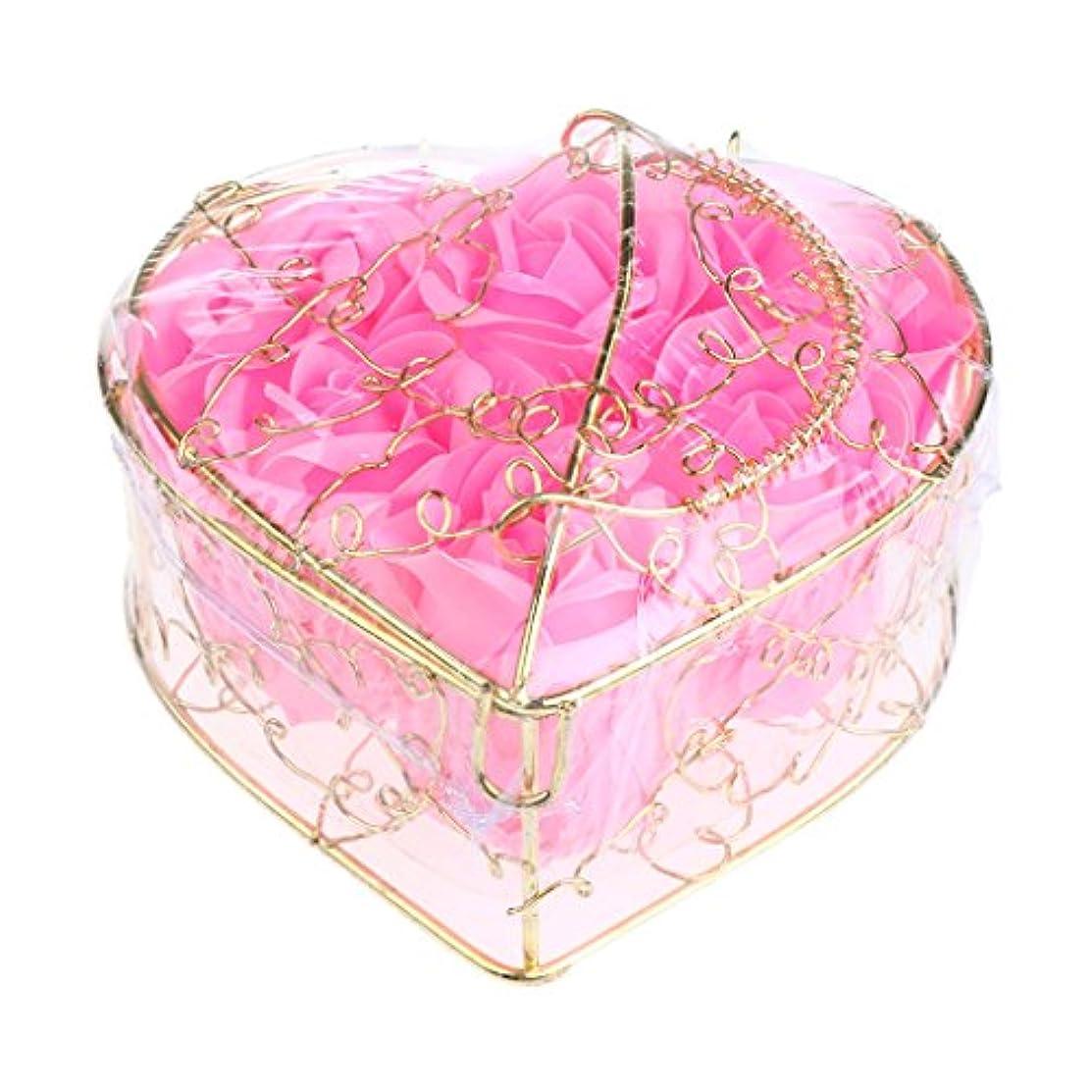 なにしたがって暫定Kesoto 6個 石鹸の花 バラ 石鹸の花びら 母の日 ギフトボックス ロマンチック 全5タイプ選べる - ピンク