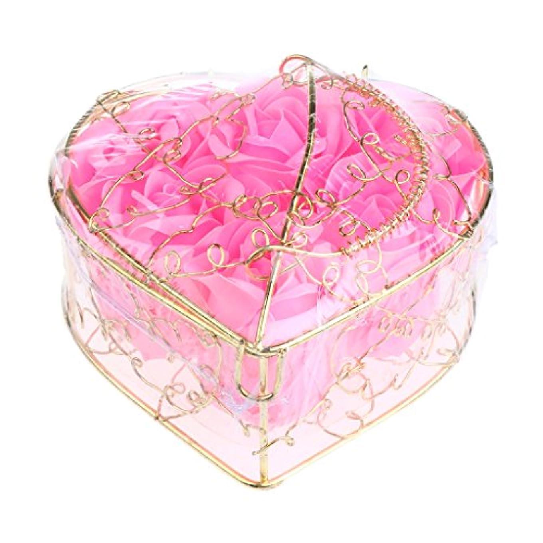 ハングファシズム過激派Kesoto 6個 石鹸の花 バラ 石鹸の花びら 母の日 ギフトボックス ロマンチック 全5タイプ選べる - ピンク