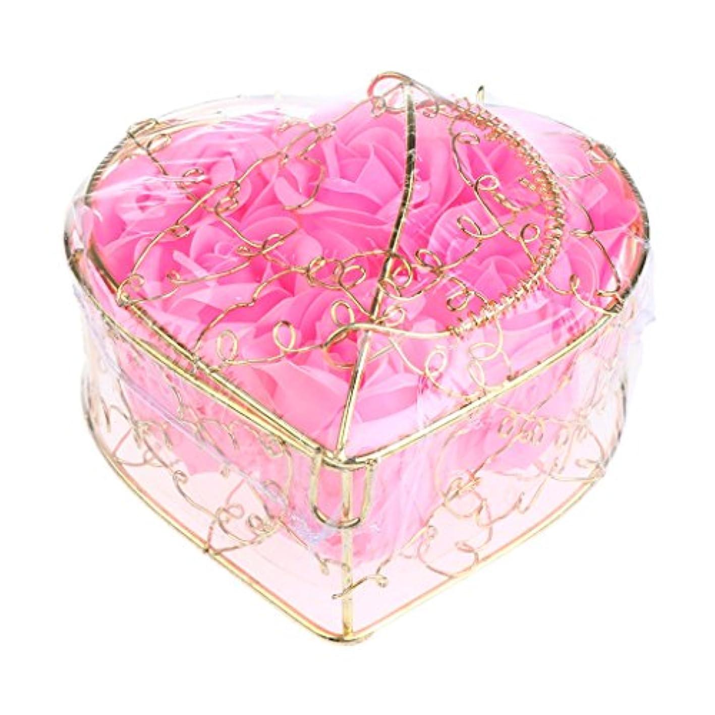 揮発性放射性自発的Kesoto 6個 石鹸の花 バラ 石鹸の花びら 母の日 ギフトボックス ロマンチック 全5タイプ選べる - ピンク