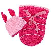 かぎ針編みの生まれたばかりの赤ちゃんの写真の小道具ニット漫画帽子コスチューム写真の小道具 - ピンクのうさぎ