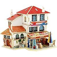 inverlee 3dパズル子供DIY Assemble Mini木製ドールハウスモデル家具ハンドクラフトミニチュア、クリスマスギフトfor Children