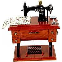 ビンテージ ミニ ミシン スタイル プラスチック ミュージック ボックス時計じかけのオルゴール テーブル机装飾グッズ ギフト工芸品