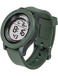 SANDA メンズ 大きい 文字盤 ウォッチ シリコーン バンド 電子時計 耐衝撃 防水 LED 多機能 学生 スポーツ デジタル 腕時計 (グリーン)
