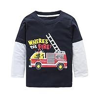 HowJoJo Boys Long Sleeve Cotton T-Shirts Monster Truck Shirt Graphic Tees