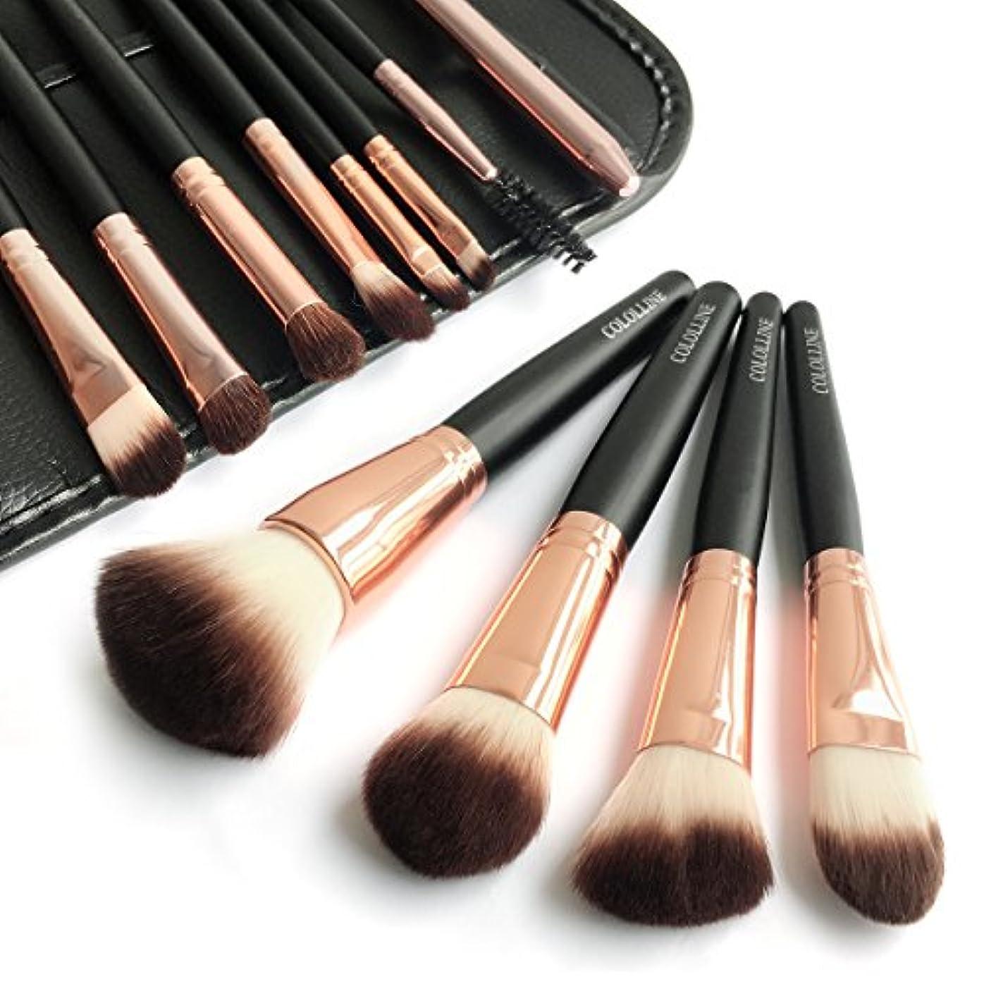 もつれ韻パキスタン人Cololline メイクブラシ 12本セット 化粧筆 フェイスブラシ 高級タクロン 専用ポーチ付