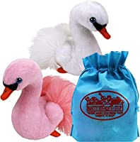 Ty Beanie Babies Swans Gracie (White) & Odette (Pink) Gift Set Bundle with Bonus Matty's Toy Stop Storage Bag - 2 Pack [並行輸入品]