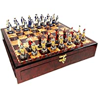 Pirates Vs Royal Navy Pirate Chess Set W/ High Gloss Cherry & Burlwood Color Storage Board 17