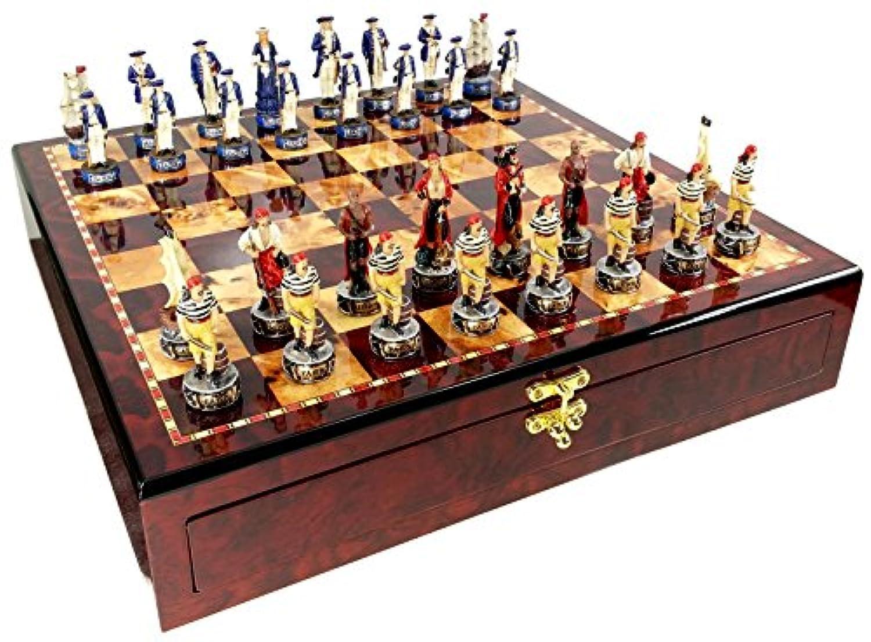 Pirates Vs Royal Navy Pirate Chess Set W/ High Gloss Cherry & Burlwood Color Storage Board 17