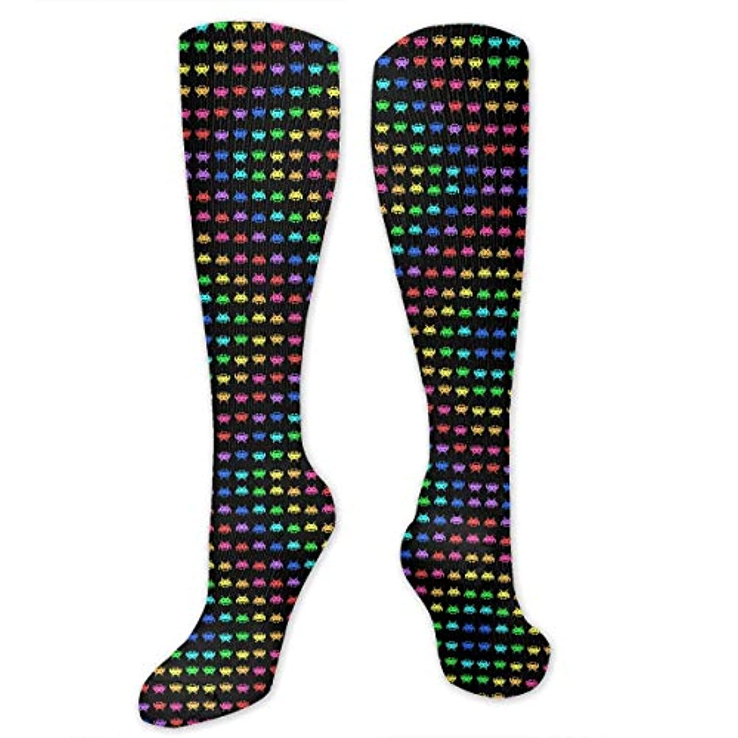公爵バイソン方法論靴下,ストッキング,野生のジョーカー,実際,秋の本質,冬必須,サマーウェア&RBXAA Space Invaders Black Socks Women's Winter Cotton Long Tube Socks Cotton...