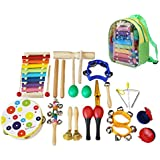 Aideal 19PCS Musical Instruments Set Wooden Percussion Toys with Xylophone Rhythm Music Toys Set for Toddler and Preschool Kids