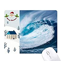 白い波の海の水の科学は自然の写真 サンタクロース家屋ゴムのマウスパッド
