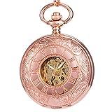 Manchda レディース 精巧で美しい彫刻 ローズ金 二重カバー ローマ数字 手巻き 機械式 懐中時計