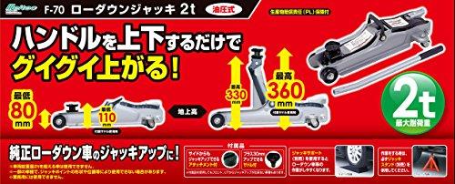 メルテック ローダウンフロアージャッキ(2t) ローダウン対応 油圧式 最高値:330mm/最低値:80mm/ストローク:250mm アタッチメント付・サドル30mm Meltec F-70