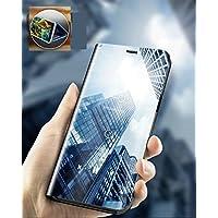 GalaxyNote9 ケース 手帳型 鏡面 ケース 半クリア スタンド機能 鏡面Galaxy Note9 ケース カバー 半透明 ミラー 手帳型 鏡 ギャラクシーノート9 ケース 高級感 おしゃれ (黒)