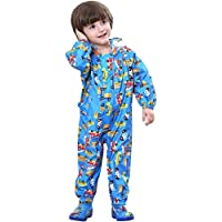 Kids Rainsuit Raincoat Waterproof Jumpsuit - Coverall Rainwear All-in-One Rain Jackets Children Reusable Rain Coat Slicker Windproof Hooded for Sports Camping Traveling Outdoors Park Boys Girls