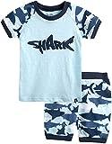 [Vaenait Baby]キッズ12ヶ月-7歳綿100%ルームウェア半袖パジャマ寝間着上下セットShark Blue XS
