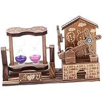 F Fityle 木製 砂時計 風車 オルゴール おもちゃ 玩具 家 装飾品