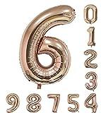 バルーン(0-9)40インチローズゴールドの数字誕生日パーティーのアラビア数字6