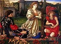 手書き-キャンバスの油絵 - 美術大学の先生直筆 - Le Chant dAmour Song of Love Preラファエルite Sir Edward Burne Jones 絵画 洋画 複製画 ウォールアートデコレーション -サイズ13
