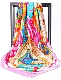 女性のためのスカーフ大きいスクエアタオル高品質のプリントシルクスカーフワイドブリムドヘアバンド女性ヒジャブ