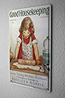 Tin Sign ブリキ看板 Children Wall Decor little girl rolling out dough Metal Plate