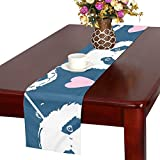 GGSXD テーブルランナー かわいいパンダ クロス 食卓カバー 麻綿製 欧米 おしゃれ 16 Inch X 72 Inch (40cm X 182cm) キッチン ダイニング ホーム デコレーション モダン リビング 洗える