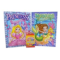 Colouring Books For Girls and Crayons Bundle - One Princess and One Mermaid Book Assorted Styles with 24 Piece Crayon Box