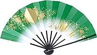 舞扇子 愛 1403 色紙ちらし 赤ぼかし 9寸5分 黒塗骨 踊り用 (緑)
