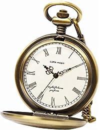【little magic 懐中時計 (日本製ムーブメント)】GW [ 極限までシンプルデザイン]アンティーク [ 光沢 文字盤 ] [ クリア仕上げ ] [ 立体文字盤 ] [ 高耐久性 ]ナースウォッチ 時計 チェーン メンズ レディース (2種 チェーン+革ひも付き)(アンティークゴールド白文字盤)GW
