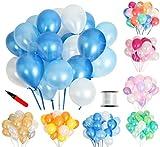 (ジンセルフ) JINSELF あんしん極厚風船 100個セット 弾力2倍 高品質 キラキラ光沢 誕生日 結婚式 パーティー お祝い 飾り付け 飾り 装飾 デコレーション 空気入れ ブルー