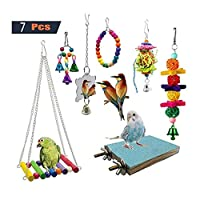 鳥のおもちゃ 7ピースバードセットのオウムケージ鐘玩具パーチ木製ビーズハンモックハンギング玩具スイング