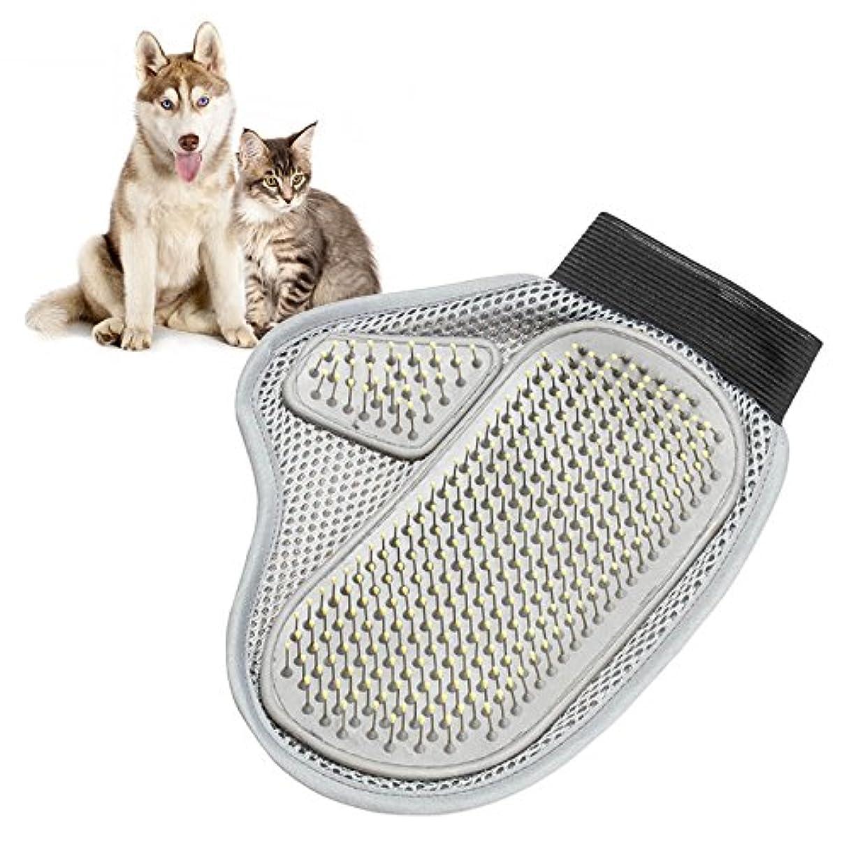 ネスト菊カウンタBTXXYJP ペット ブラシ 手袋 猫 ブラシ グローブ クリーナー 耐摩耗 抜け毛取り マッサージブラシ 犬 グローブ (Color : Gray, Size : M)