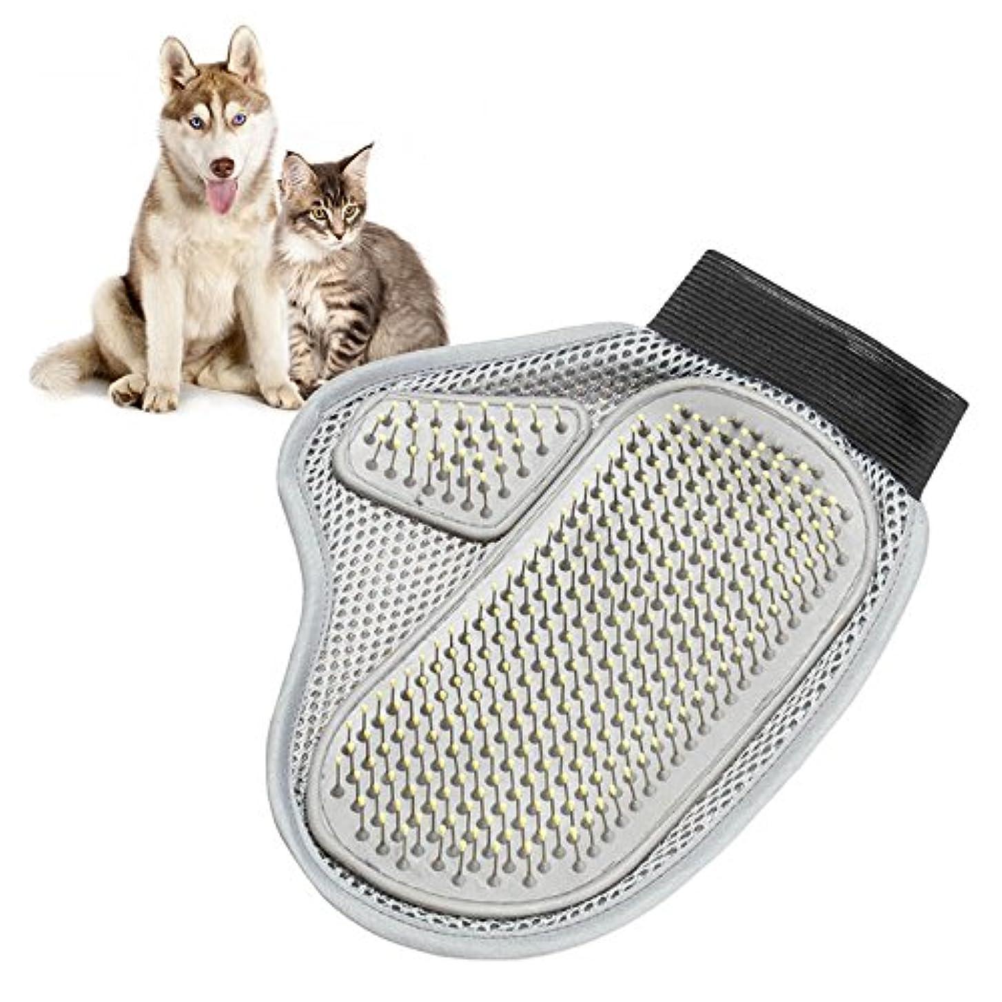 サンダース所有者ドメインBTXXYJP ペット ブラシ 手袋 猫 ブラシ グローブ クリーナー 耐摩耗 抜け毛取り マッサージブラシ 犬 グローブ (Color : Gray, Size : M)