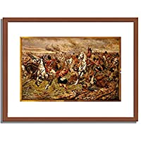 Berkeley, Stanley,1872-1902「Gordons And Greys To The Front! Incident At Waterloo.」インテリア アート 絵画 プリント 額装作品 フレーム:木製(茶) サイズ:S (221mm X 272mm)