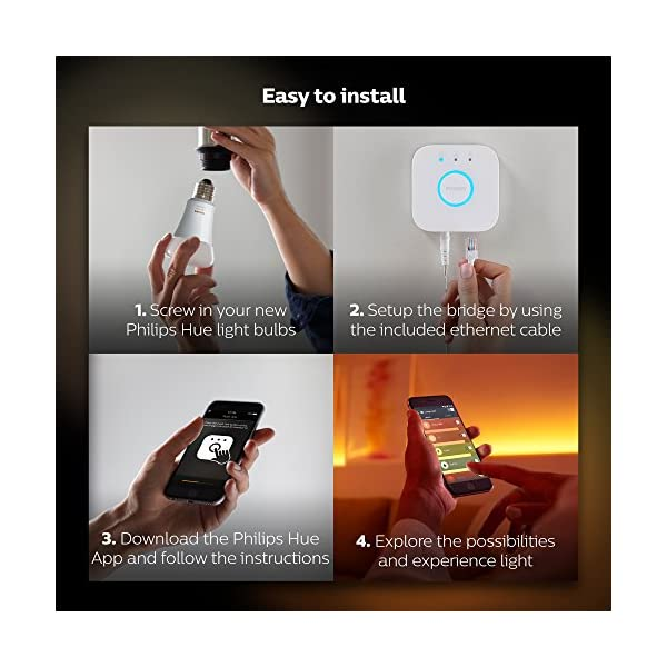 Philips Hue White Ambiance Smart Bulb Starter Kit - Edison Screw E27 (Compatible with Amazon Alexa, Apple HomeKit, and Google Assistant) 6