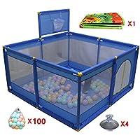 ポータブルベビープレイペン8パネルバスケットボールのフープとボールマットチャイルドボーイズガールズプレイペンルームディバイダーオックスフォードクロス、ブルー (色 : 100 Balls)