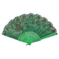 レース扇子 ハンドヘルド中国風扇子レトロ工芸品扇結婚式の装飾に使用 (グリーン)