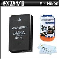バッテリキットfor Nikon dl24–500、Nikon 1V3、Nikon 1j1、1j2、Nikon 1aw1ミラーレスデジタルカメラは拡張交換用( 1200mAh ) for Nikon en-el20、en-el20aバッテリー+スクリーンプロテクター+ More