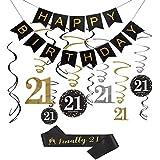 21歳の誕生日デコレーションキット – 誕生日バナー、12個のキラキラ21個の吊り下げスワール装飾、「ついに21」誕生日サッシュ、彼女へのプレゼントに最適。