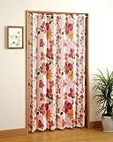 アコーディオン パネル 間仕切りカーテン 北欧風 のれん ローズ お花 ピンク系 約幅120×丈185cm