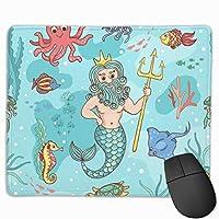 マウスパッド 人魚 タコ 魚 グレー ゲーミング オフィス最適 おしゃれ 疲労低減 滑り止めゴム底 耐久性が良い 防水 かわいい PC MacBook Pro/DELL/HP/SAMSUNGなどに 光学式対応 高級感プレゼント Tartiny