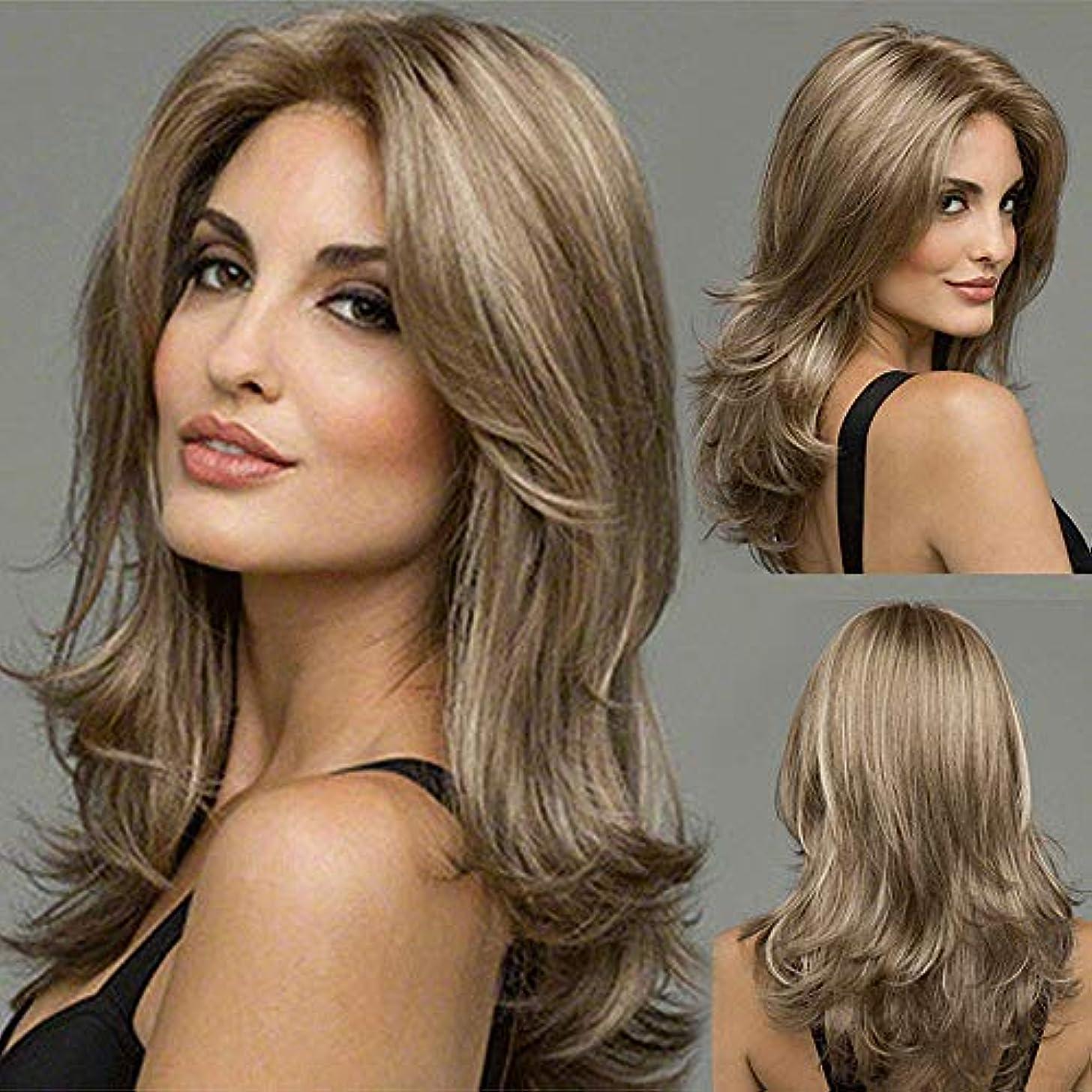 確認する豊富確率女性のための茶色のかつら長い波状合成かつら中間別れ熱半手耐性グルーレス茶色のかつらパーティー衣装コスプレウィッグ