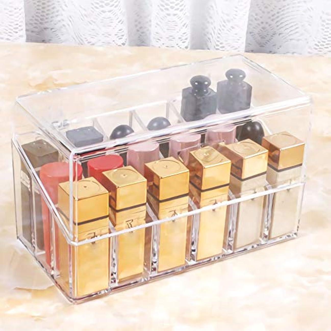 植物の見込み多分アクリルケース リップ収納 ボックス プレゼント 口紅いれ 蓋付き 仕切り式 多用途 防塵 透明 18本