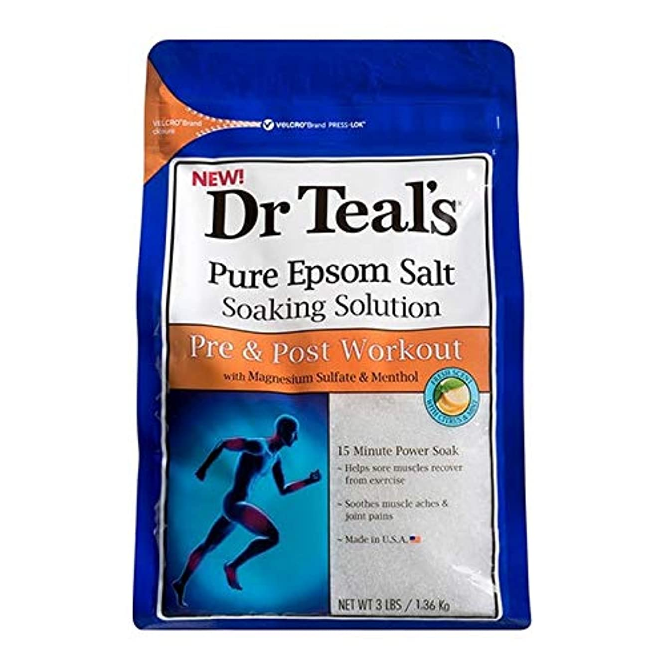 蛾うがい薬ペダル[Dr Teals] Drのティールの均熱Bathsalt前N個のポストワークアウト1.36キロ - Dr Teal's Soaking Bathsalt Pre N Post Workout 1.36 kg [並行輸入品]