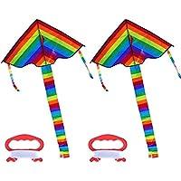 Dingjin 2個Huge Delta Kite for Kidsレインボーデルタカイトアウトドア折りたたみ式大人の子供のカイトwithカイトライン、40インチLong