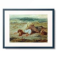 ウジェーヌ・ドラクロワ Ferdinand Victor Eugene Delacroix 「Patre romain (Brigand blesse se trainant pres d'un ruisseau) 」 額装アート作品