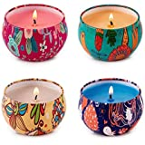 HITHYS Scented Candles Set for Women Rose Jasmine, Orange, Coffee and Seasalt Lilac, Natural Soy Wax Travel Tin Candles for P